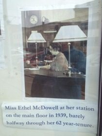 Miss McDowell, from a display, in a Main Avenue storefront, celebrating 200 years of the Ashtabula  Library.