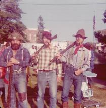 """Cosplay, the 1976 version. Ned Neenan, Hal Hintz, and Dad at Jefferson Days in Jefferson, Ohio. They also did a mean version of """"Who's On First,"""" but wore different hats. This photo was taken less than two months before he totaled my 1968 Meadowlark Yellow Mustang. Not that I hold grudges or anything."""