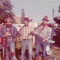 "Cosplay, the 1976 version. Ned Neenan, Hal Hintz, and Dad at Jefferson Days in Jefferson, Ohio. They also did a mean version of ""Who's On First,"" but wore different hats. This photo was taken less than two months before he totaled my 1968 Meadowlark Yellow Mustang. Not that I hold grudges or anything."