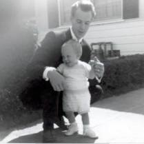 Dad in a suit that fits! Taken on or around Ray Lillie's first birthday in Inglewood, California. (May 1962 is stamped on the border of the print, but I suspect this was taken on Easter, which would explain the suit.)